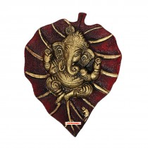 Astrodidi Lord Ganehsa on Red Leaf Wall Hanging for Vastu