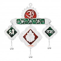 Astrodidi Shree Ganeshaya Namahs Trikona wall Hanging in Meena Work for Vastu